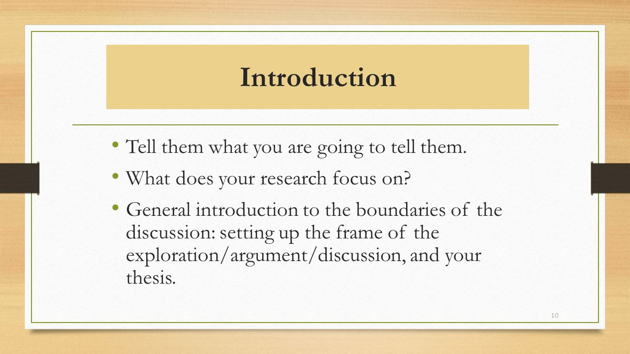 Introduction Tell them what you are going to tell them.