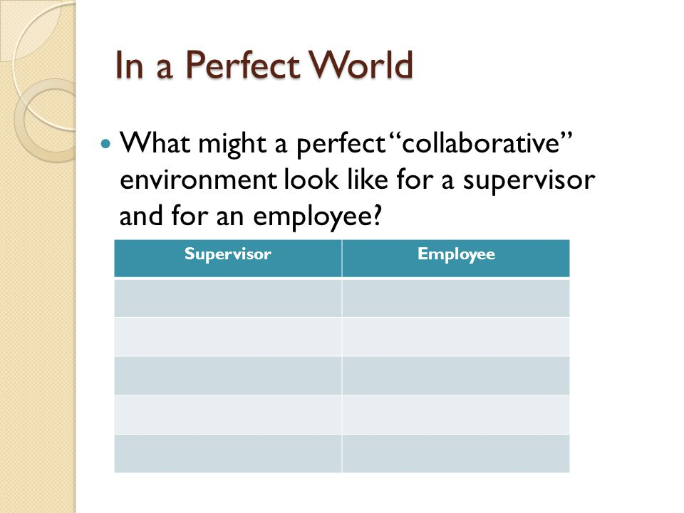 The Supervisor's Role To create competent, confident people who own their performance.