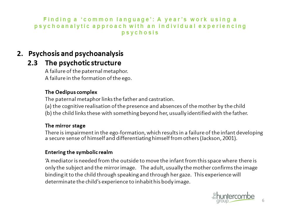 Finding a 'common language': A year's work using a psychoanalytic approach with an individual experiencing psychosis 2.