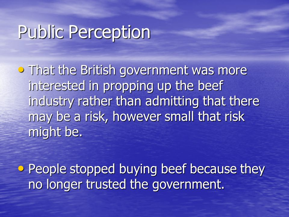 Public Perception That the British government was more interested in propping up the beef industry rather than admitting that there may be a risk, however small that risk might be.