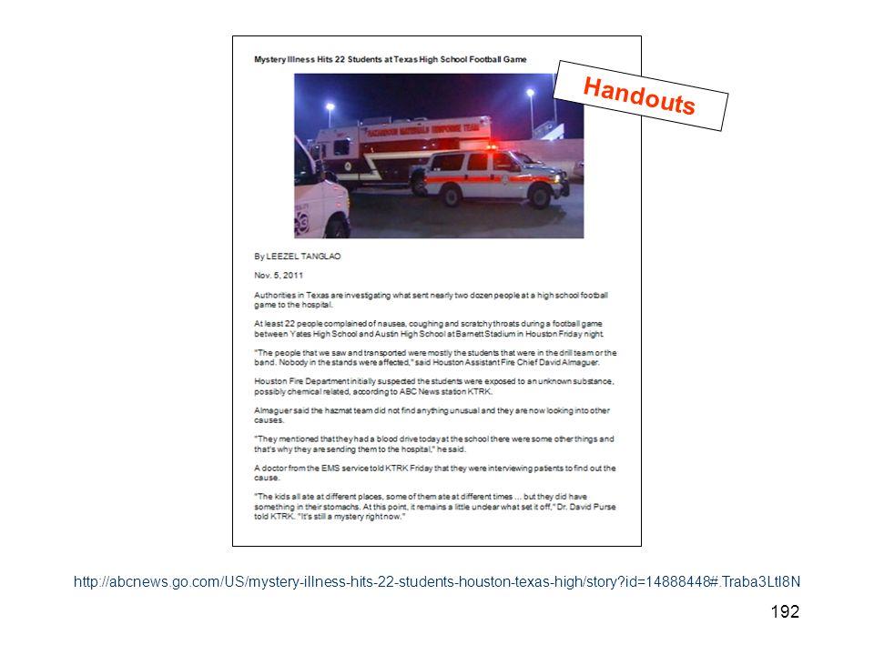 192 http://abcnews.go.com/US/mystery-illness-hits-22-students-houston-texas-high/story?id=14888448#.Traba3Ltl8N Handouts