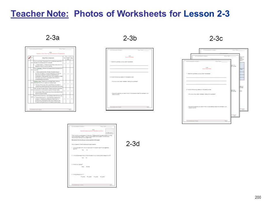 200 Teacher Note: Photos of Worksheets for Lesson 2-3 2-3b 2-3a 2-3c 2-3d