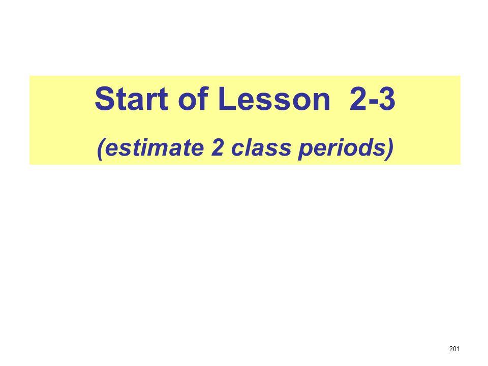 Start of Lesson 2-3 (estimate 2 class periods) 201