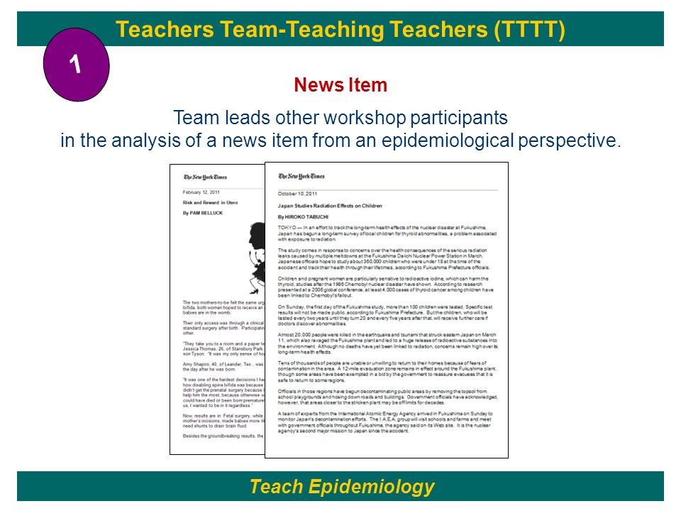 Teachers Team-Teaching Teachers (TTTT) News Item Team leads other workshop participants in the analysis of a news item from an epidemiological perspective.