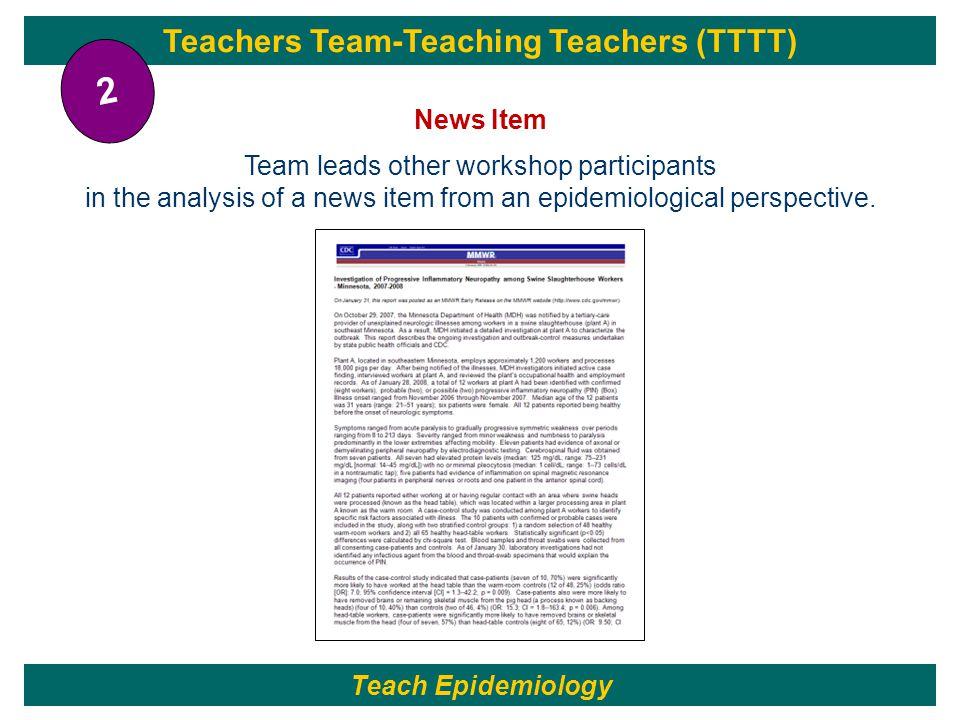Teach Epidemiology Teachers Team-Teaching Teachers (TTTT) News Item Team leads other workshop participants in the analysis of a news item from an epid