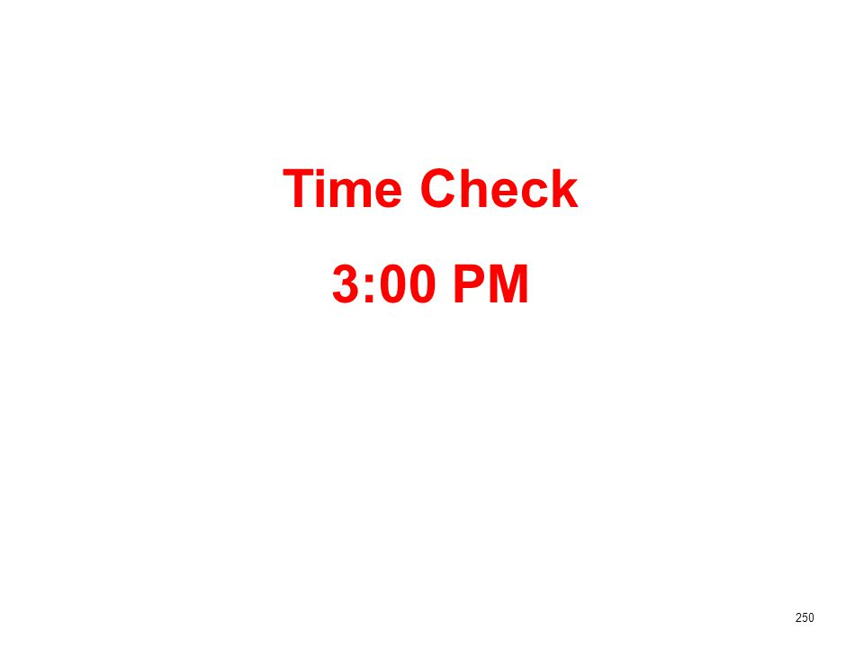 250 Time Check 3:00 PM