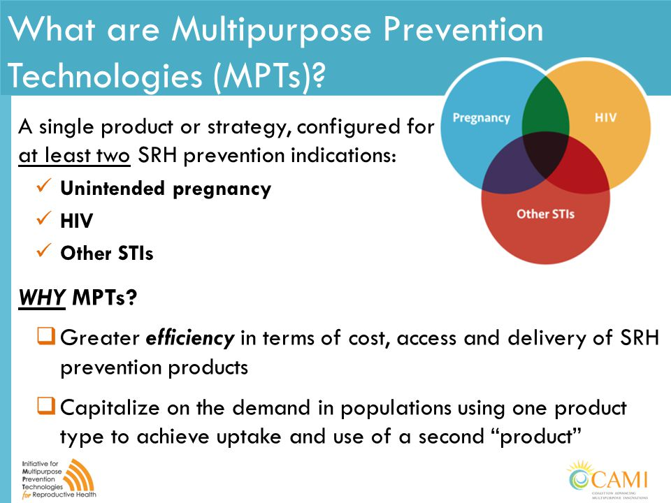 What are Multipurpose Prevention Technologies (MPTs)? A single product or strategy, configured for at least two SRH prevention indications: Unintended