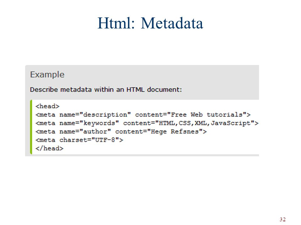 32 Html: Metadata
