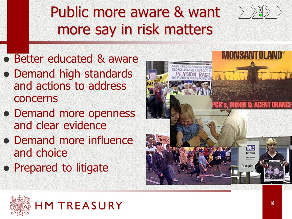 10 Public more aware & want more say in risk matters Better educated & aware Demand high standards and actions to address concerns Demand more openness and clear evidence Demand more influence and choice Prepared to litigate