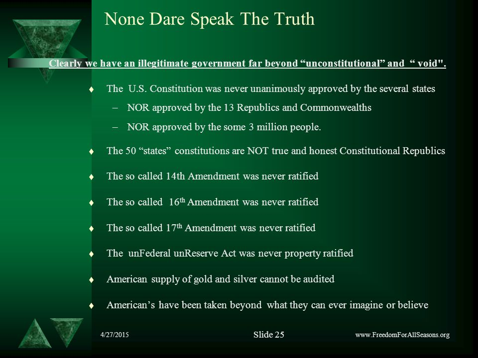 4/27/2015 None Dare Speak The Truth t The U.S. Constitution was never unanimously approved by the several states –NOR approved by the 13 Republics and