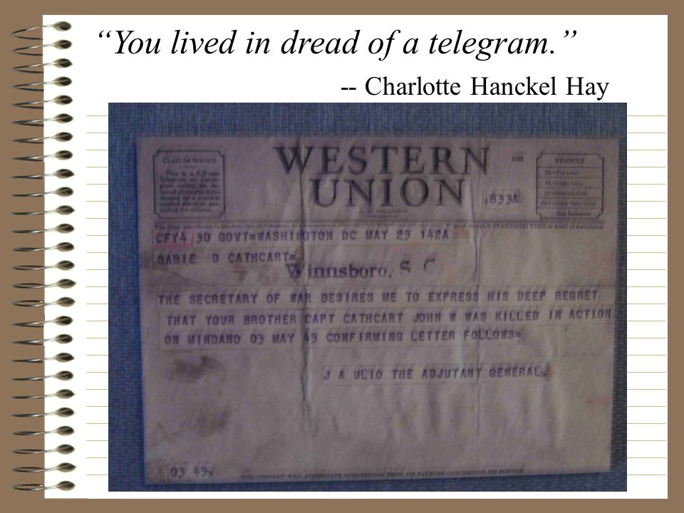 You lived in dread of a telegram. -- Charlotte Hanckel Hay