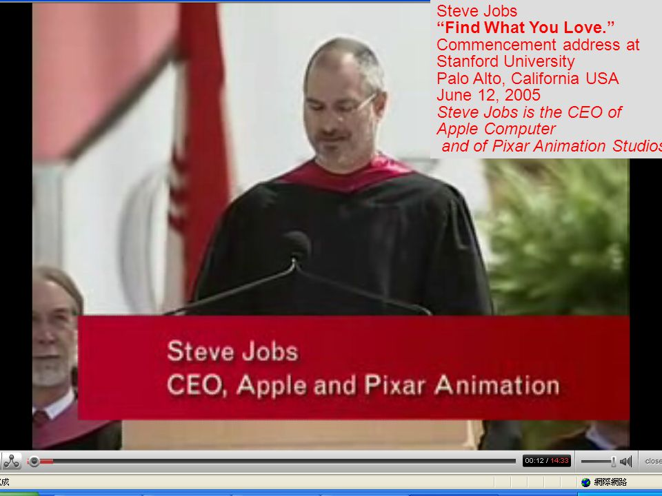 Steve Jobs Find What You Love. Commencement address at Stanford University Palo Alto, California USA June 12, 2005 Steve Jobs is the CEO of Apple Computer and of Pixar Animation Studios.