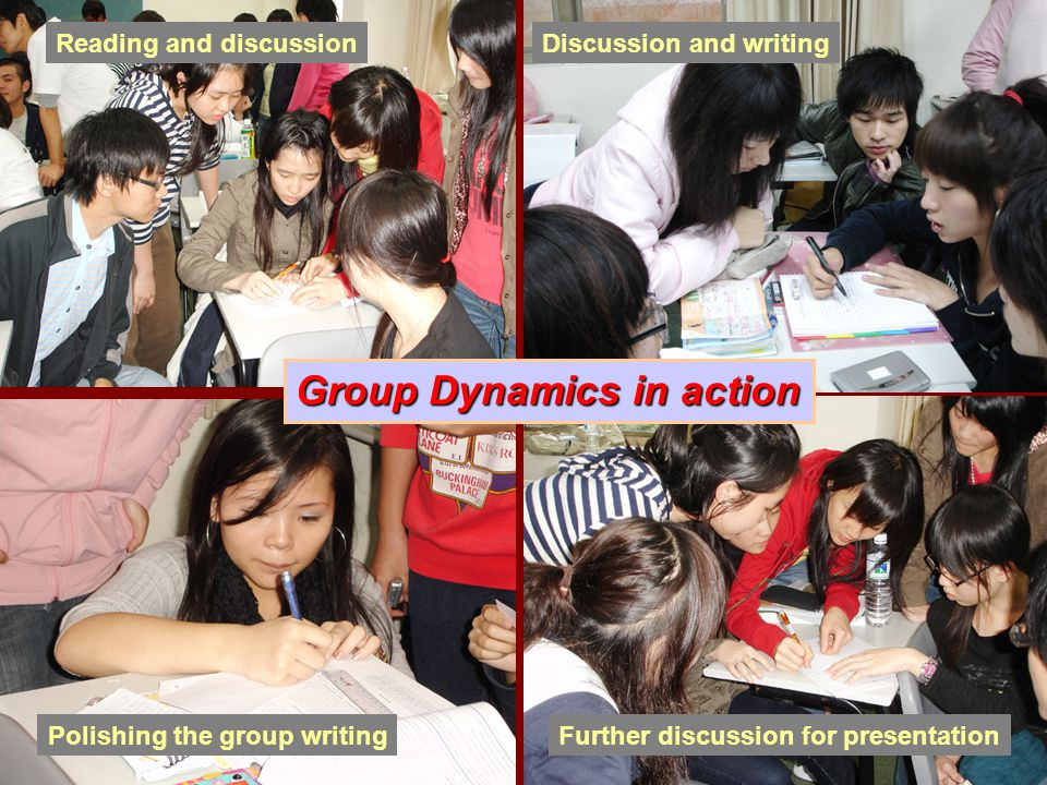 Group Dynamics in action Reading and discussionDiscussion and writing Further discussion for presentationPolishing the group writing