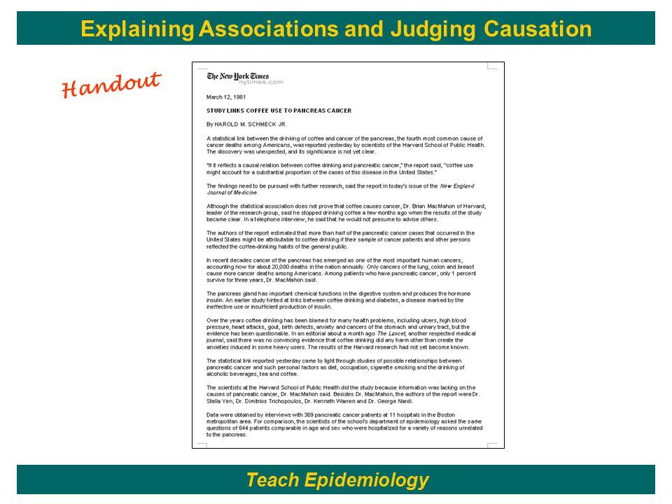 Handout Teach Epidemiology Explaining Associations and Judging Causation