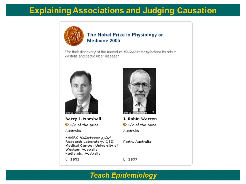 150 Teach Epidemiology Explaining Associations and Judging Causation