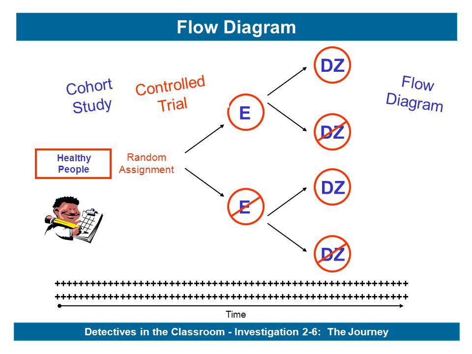 Time ++++++++++++++++++++++++++++++++++++++++++++++++++++++++++ Healthy People Cohort Study Flow Diagram - Healthy People E E DZ Controlled Trial Random Assignment Detectives in the Classroom - Investigation 2-6: The Journey