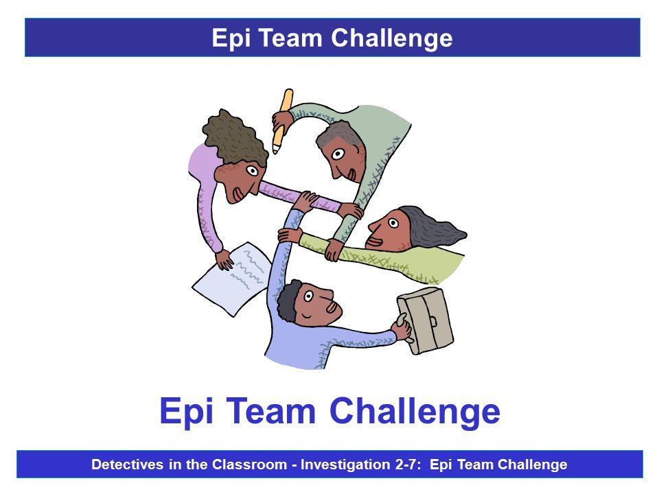 Epi Team Challenge Detectives in the Classroom - Investigation 2-7: Epi Team Challenge