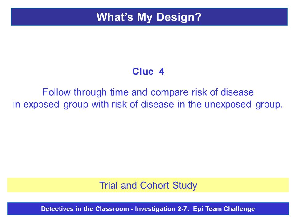 Follow through time and compare risk of disease in exposed group with risk of disease in the unexposed group.