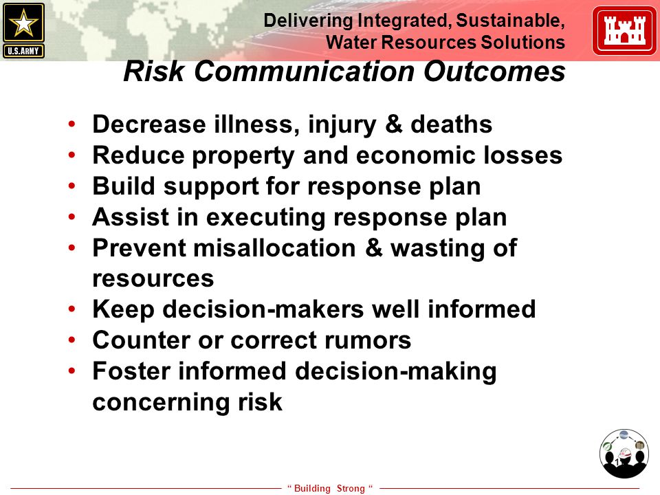 """ Building Strong "" Delivering Integrated, Sustainable, Water Resources Solutions 11 Risk Communication Outcomes Decrease illness, injury & deaths Red"