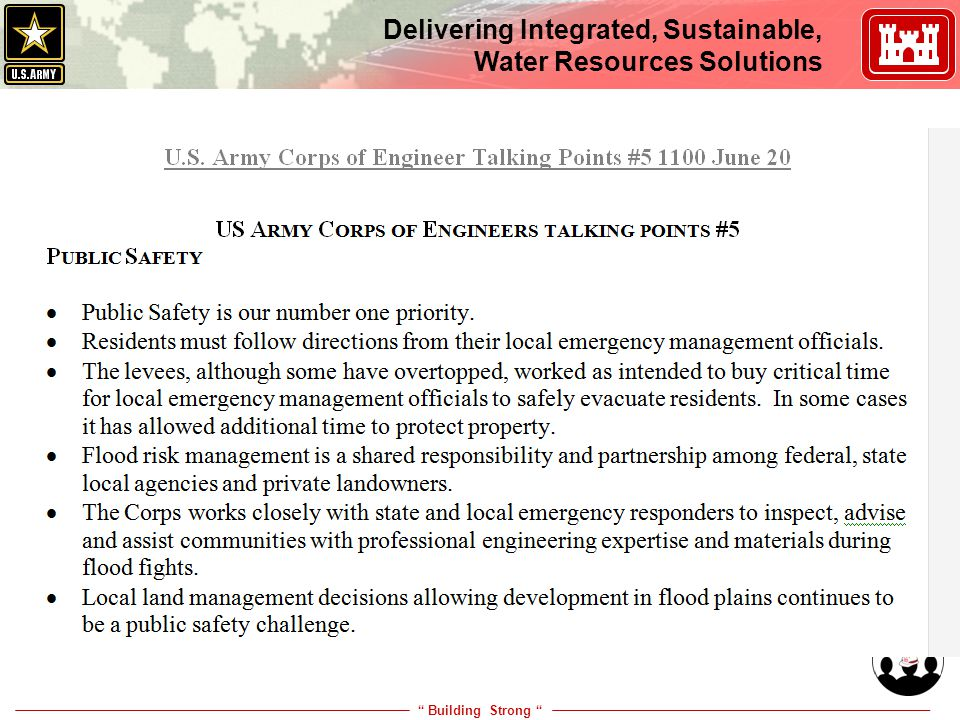 """ Building Strong "" Delivering Integrated, Sustainable, Water Resources Solutions Is This Risk Communication?"