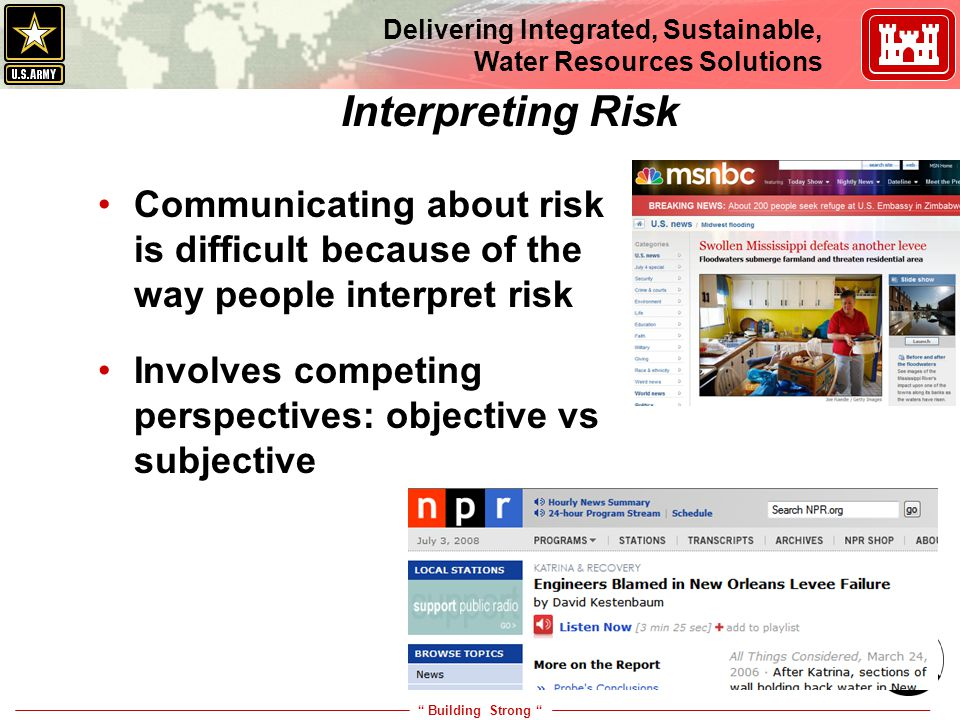 """ Building Strong "" Delivering Integrated, Sustainable, Water Resources Solutions 20 Interpreting Risk Communicating about risk is difficult because o"