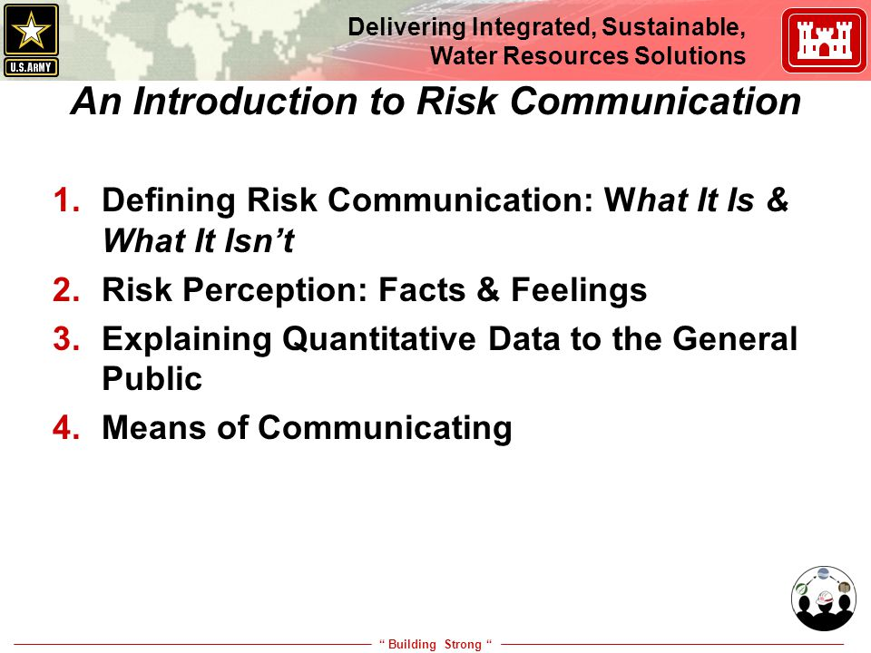 """ Building Strong "" Delivering Integrated, Sustainable, Water Resources Solutions An Introduction to Risk Communication 1.Defining Risk Communication:"