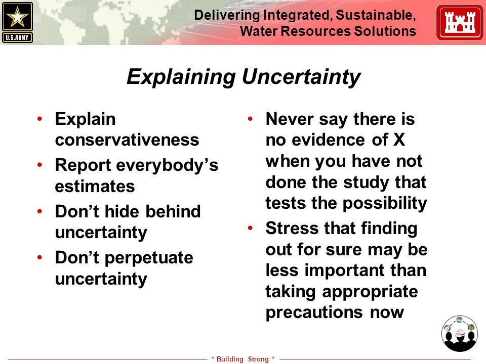 """ Building Strong "" Delivering Integrated, Sustainable, Water Resources Solutions Explaining Uncertainty Explain conservativeness Report everybody's e"