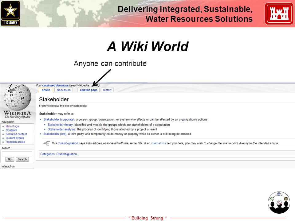 """ Building Strong "" Delivering Integrated, Sustainable, Water Resources Solutions Anyone can contribute A Wiki World"