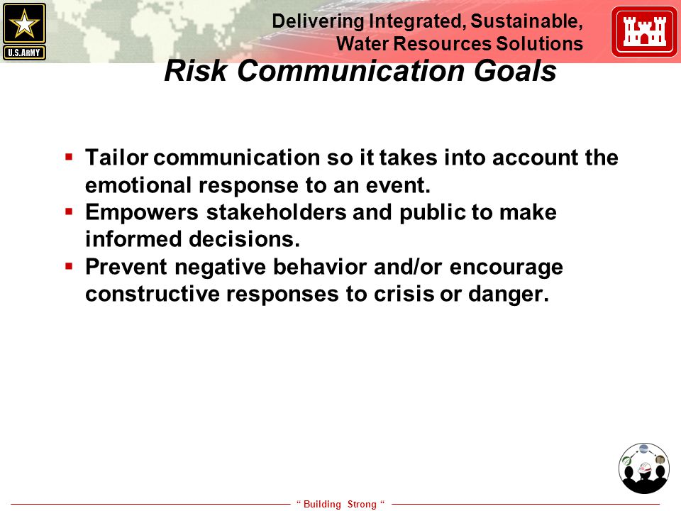 """ Building Strong "" Delivering Integrated, Sustainable, Water Resources Solutions 7 Risk Communication Goals  Tailor communication so it takes into a"