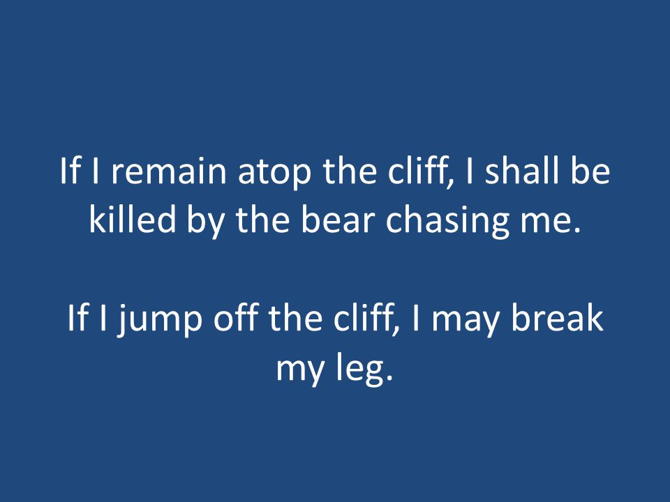 If I remain atop the cliff, I shall be killed by the bear chasing me.