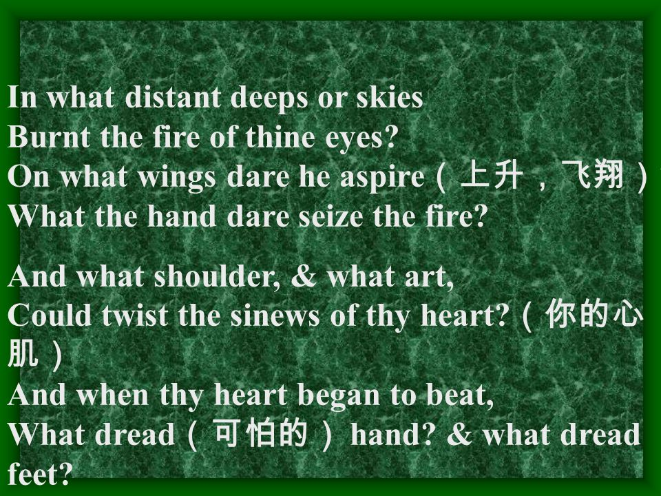 In what distant deeps or skies Burnt the fire of thine eyes? On what wings dare he aspire (上升,飞翔) ? What the hand dare seize the fire? And what should
