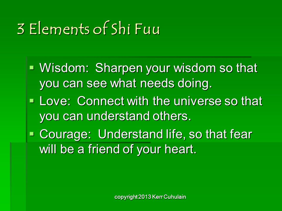 3 Elements of Shi Fuu  Wisdom: Sharpen your wisdom so that you can see what needs doing.