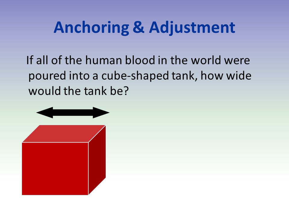 Anchoring & Adjustment If all of the human blood in the world were poured into a cube-shaped tank, how wide would the tank be?