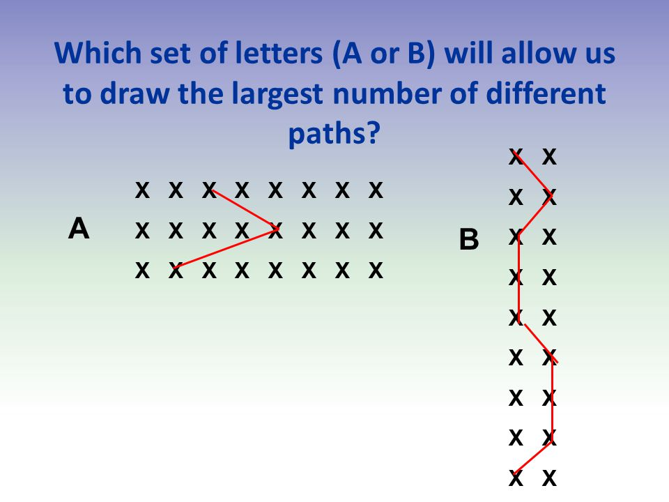 Which set of letters (A or B) will allow us to draw the largest number of different paths.