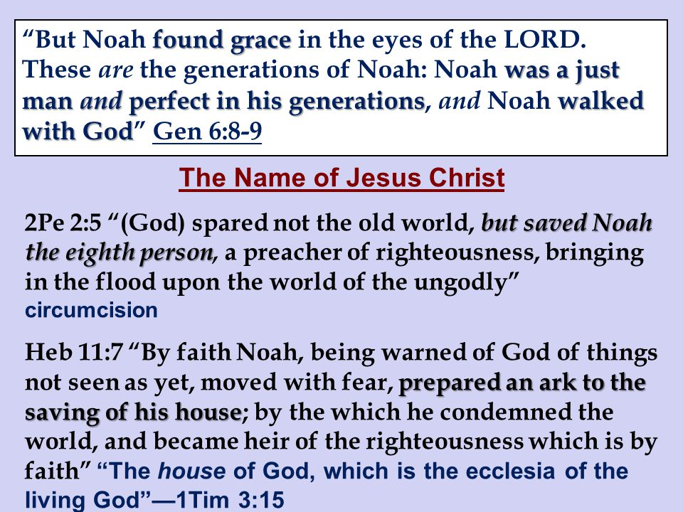 The Name of Jesus Christ but saved Noah the eighth person 2Pe 2:5 (God) spared not the old world, but saved Noah the eighth person, a preacher of righteousness, bringing in the flood upon the world of the ungodly circumcision prepared an ark to the saving of his house Heb 11:7 By faith Noah, being warned of God of things not seen as yet, moved with fear, prepared an ark to the saving of his house; by the which he condemned the world, and became heir of the righteousness which is by faith The house of God, which is the ecclesia of the living God —1Tim 3:15 found grace was a just man and perfect in his generationswalked with God But Noah found grace in the eyes of the LORD.