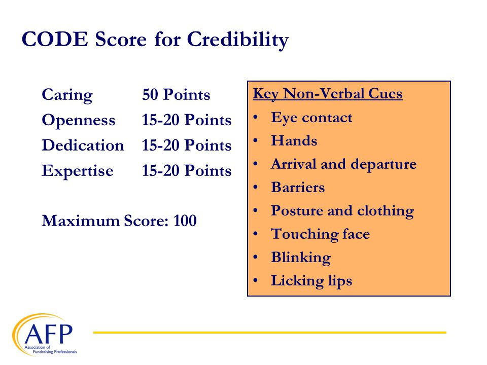 CODE Score for Credibility Caring50 Points Openness15-20 Points Dedication15-20 Points Expertise15-20 Points Maximum Score: 100 Key Non-Verbal Cues Eye contact Hands Arrival and departure Barriers Posture and clothing Touching face Blinking Licking lips