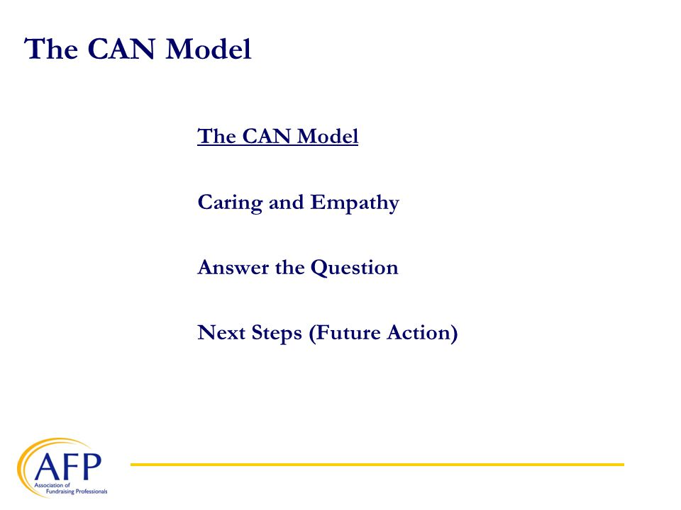 The CAN Model Caring and Empathy Answer the Question Next Steps (Future Action)
