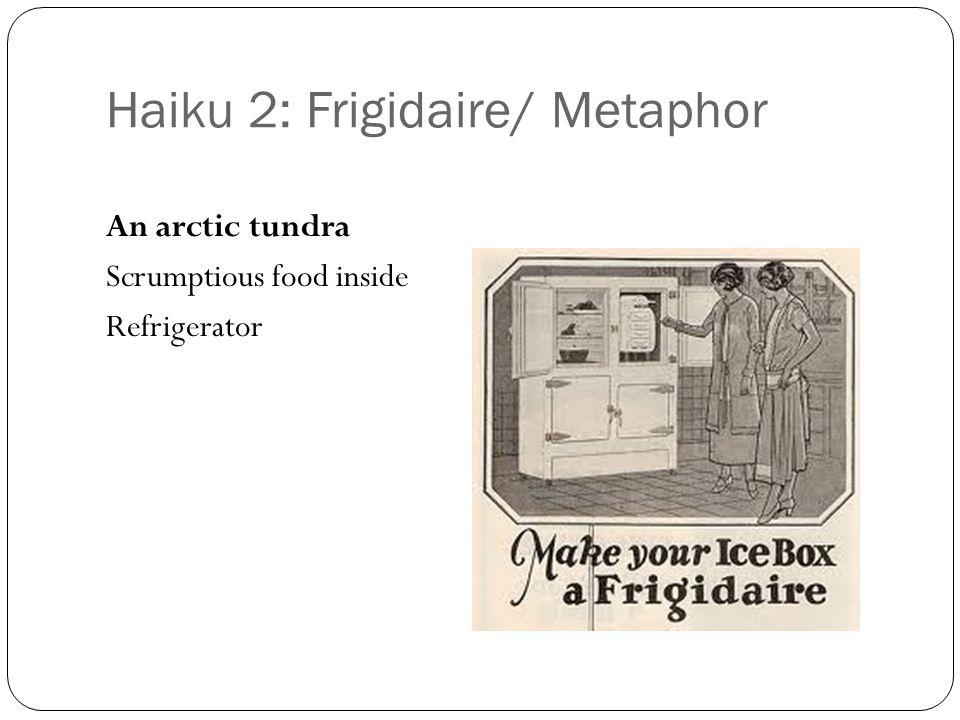 Haiku 2: Frigidaire/ Metaphor An arctic tundra Scrumptious food inside Refrigerator