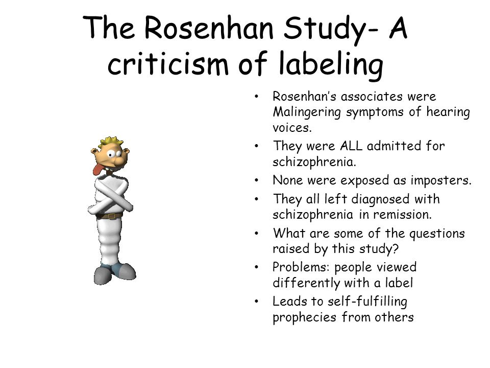 The Rosenhan Study- A criticism of labeling Rosenhan's associates were Malingering symptoms of hearing voices.