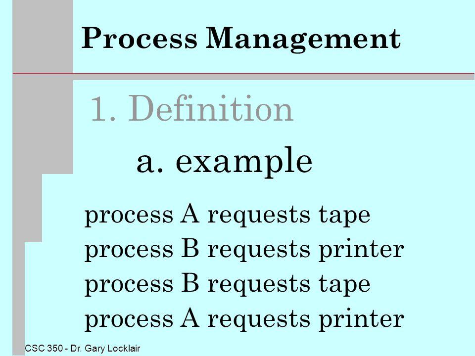CSC 350 - Dr. Gary Locklair Process Management 1.