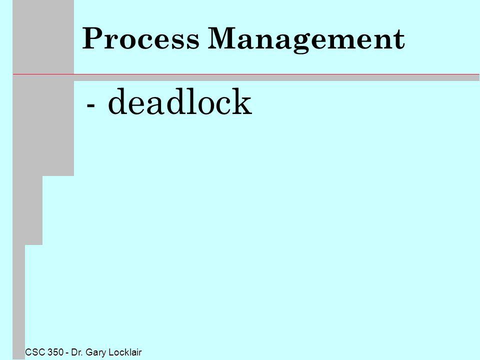 CSC 350 - Dr. Gary Locklair Process Management - deadlock