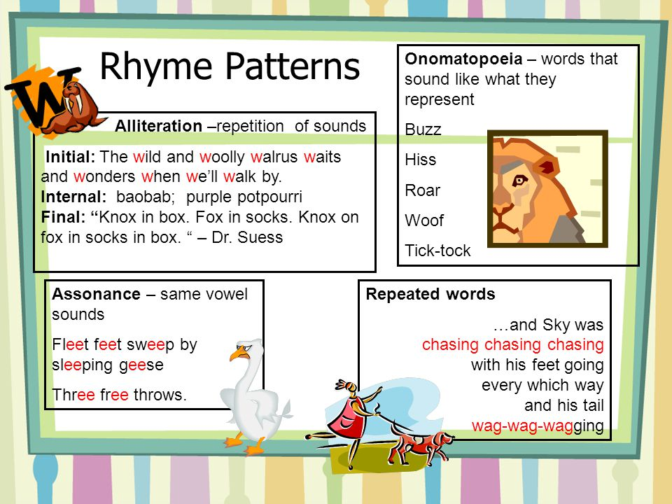 Kinds of Rhyme Exact: eye/sky/pie; sing/ding/ring Near or Half: sing/dung/rang Eye: tough/through/dough Internal: Ah, distinctly I remember, it was in the bleak December