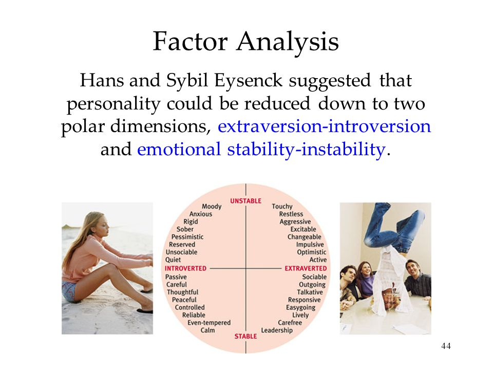 44 Factor Analysis Hans and Sybil Eysenck suggested that personality could be reduced down to two polar dimensions, extraversion-introversion and emot