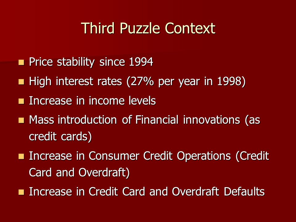 Third Puzzle Context Price stability since 1994 Price stability since 1994 High interest rates (27% per year in 1998) High interest rates (27% per year in 1998) Increase in income levels Increase in income levels Mass introduction of Financial innovations (as credit cards) Mass introduction of Financial innovations (as credit cards) Increase in Consumer Credit Operations (Credit Card and Overdraft) Increase in Consumer Credit Operations (Credit Card and Overdraft) Increase in Credit Card and Overdraft Defaults Increase in Credit Card and Overdraft Defaults