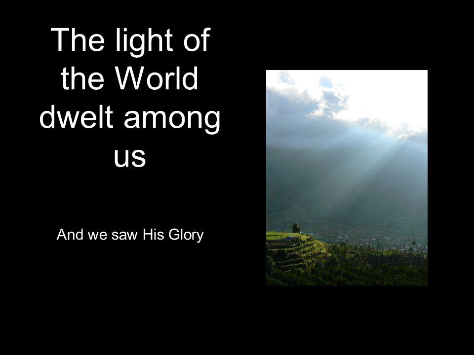 The light of the World dwelt among us And we saw His Glory