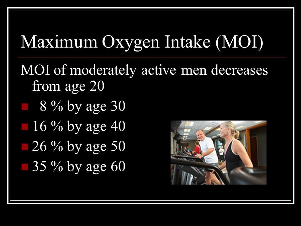 Maximum Oxygen Intake (MOI) MOI of moderately active men decreases from age 20 8 % by age 30 16 % by age 40 26 % by age 50 35 % by age 60