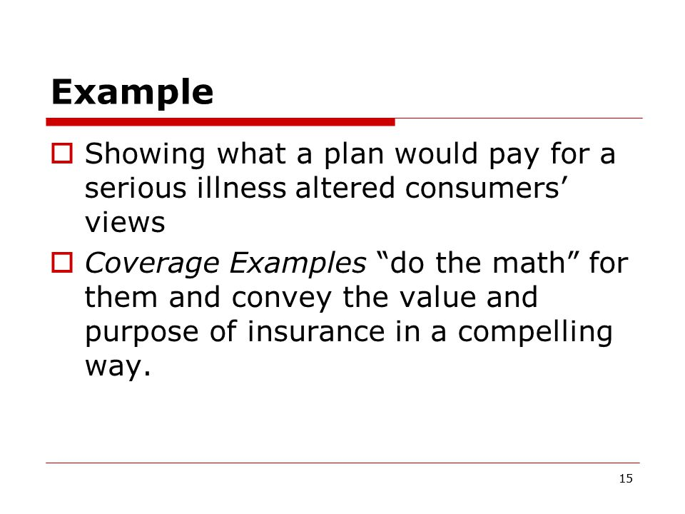 15 Example  Showing what a plan would pay for a serious illness altered consumers' views  Coverage Examples do the math for them and convey the value and purpose of insurance in a compelling way.