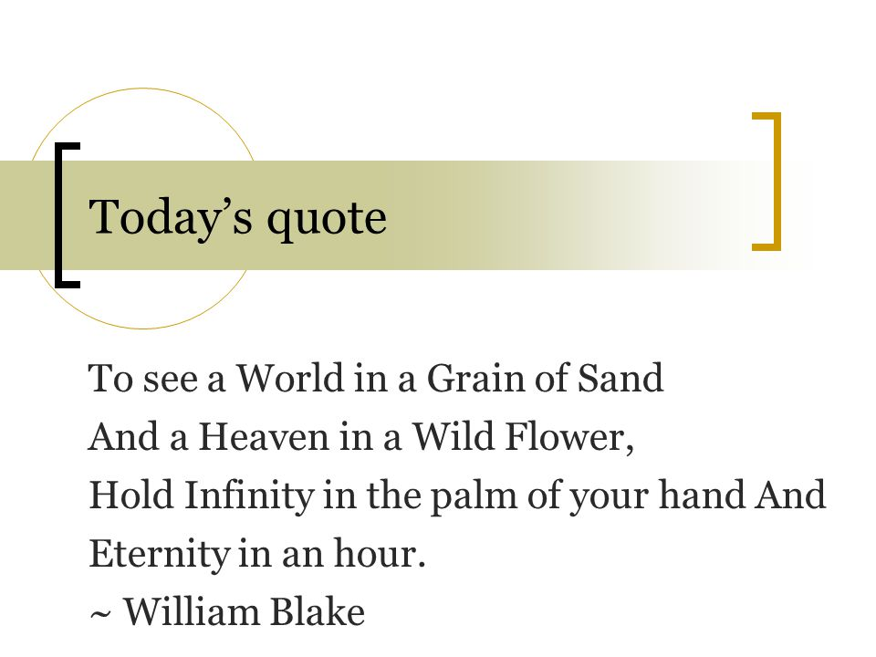 Today's quote To see a World in a Grain of Sand And a Heaven in a Wild Flower, Hold Infinity in the palm of your hand And Eternity in an hour. ~ Willi