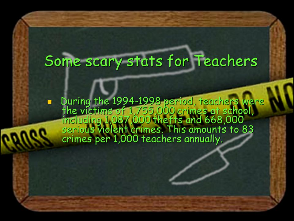 Some scary stats for Teachers During the 1994-1998 period, teachers were the victims of 1,755,000 crimes at school, including 1,087,000 thefts and 668,000 serious violent crimes.