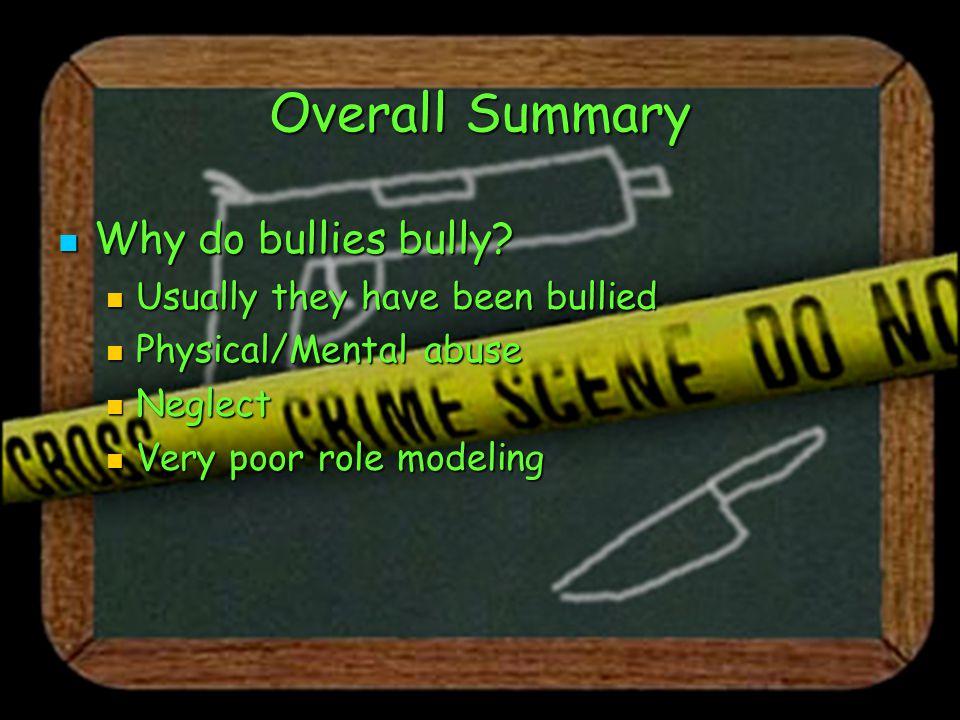 Overall Summary Why do bullies bully. Why do bullies bully.